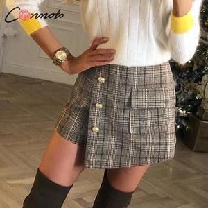 Image 4 - Conmoto vintage plaid autumn winter women skort elegant ladies pockets high waist skorts ladies high fashion OL skirt