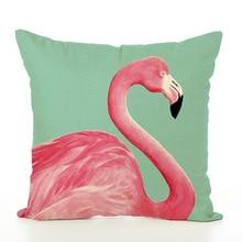 Cartoon Concise Cushion Cover Pillow Cover Originality Flamingo Design Pillow Case European Style Linen Pillowcase