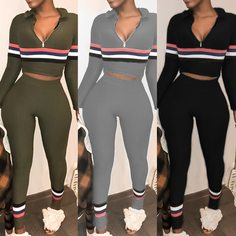 WOMEN'S Dress Hot Selling Long Sleeve Hooded Stripes Joint Mixed Colors High-waisted Pencil Pants Sexy Set
