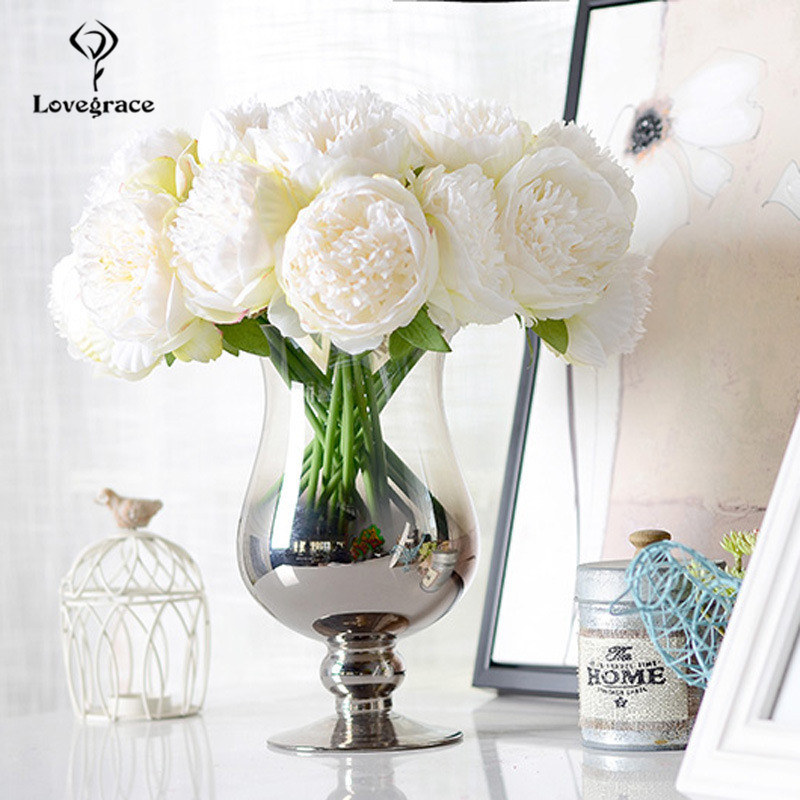 Fake Peonies Artificial Flowers Bouquet White Fake Peony Bridal Boquet Home Wedding Party Decor 5 Heads Silk Flore Peony Bouquet