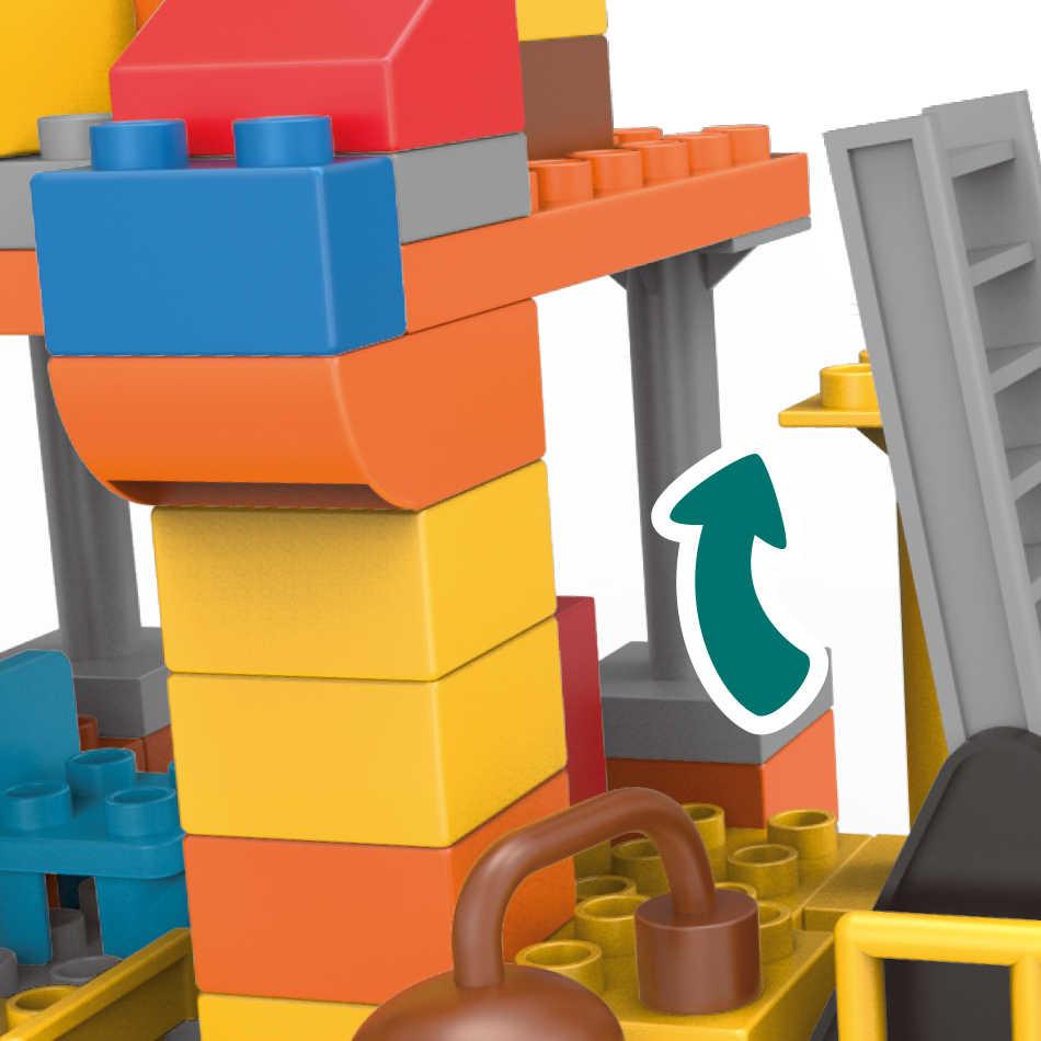 183 adet büyük boy şehir inşaat DIY ekskavatör araçları buldozer yapı taşları Set Duploed tuğla oyuncaklar çocuklar bebek çocuk