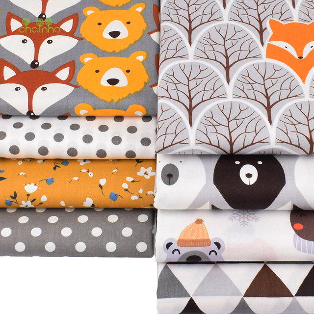 Chainho,8pcs/Lot,Jungle Animals Series,Printed Twill Cotton Fabric,Patchwork Cloth,DIY Sewing Quilting Material For Baby&Child 6