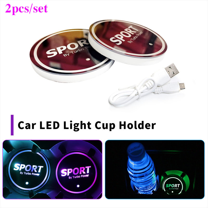 2PCS/SET <font><b>Car</b></font> <font><b>Logo</b></font> <font><b>LED</b></font> Colorful Water Cup Mat Lights Seat Trim Accessories Auto Interior Decoration Lamp <font><b>USB</b></font> Cup Mat 68MM image