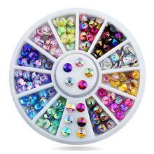 1 колесо/коробка diy Дизайн ногтей Стразы 12 цветов ab Цвет