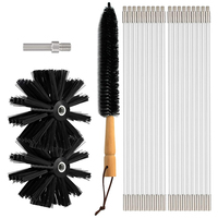 Dryer Vent Cleaner 24 Feet, Flexible 18 Rods Dry Duct Cleaning Kit Chimney Swe-ep Brush with 2 Brush Heads and Dryer Lint Brush,