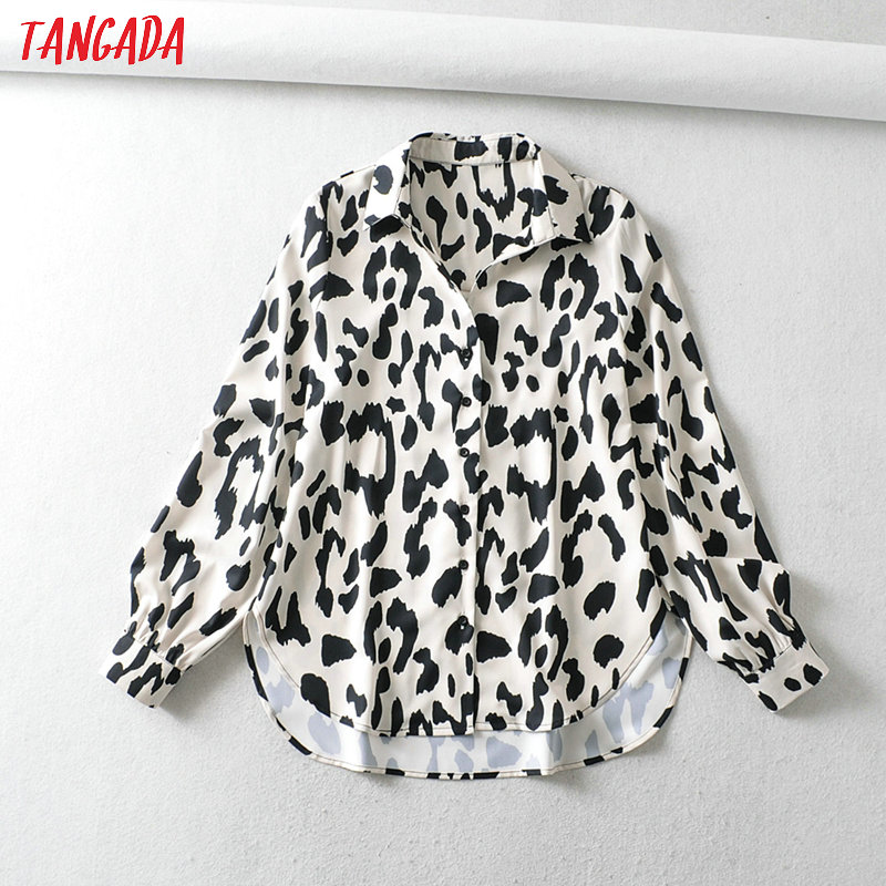 Tangada Women Retro Oversized Animal Print Chiffon Blouse Long Sleeve Chic Female Casual Loose Shirt Blusas Femininas 6A129