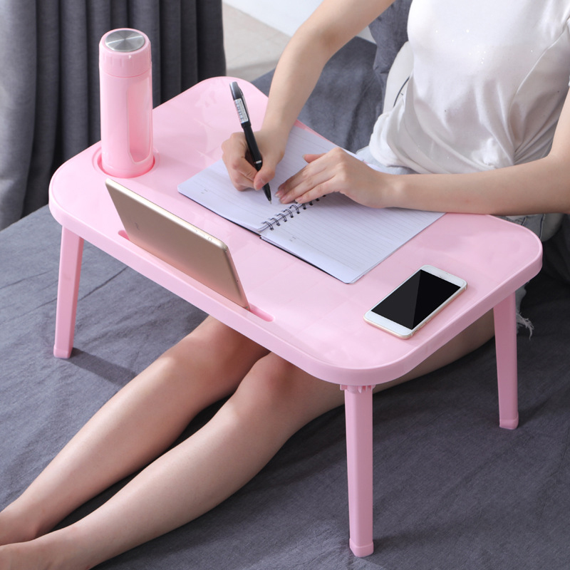 <font><b>Folding</b></font> Laptop <font><b>Table</b></font> <font><b>Notebook</b></font> Desk Breakfast Serving Bed Trays Adjustable Foldable with Flip Top and Legs Computer Desk Stand image