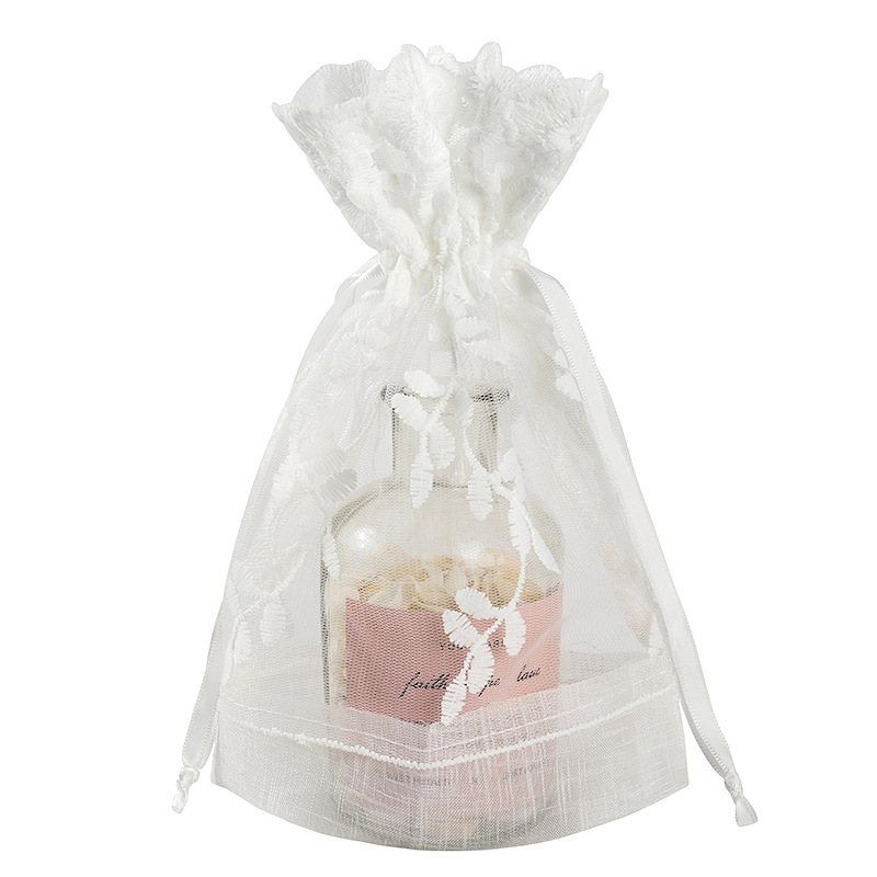 Cotton And Burlap Splice Natural Drawstring Romantic Wedding Candy Gift Packing Bag Jewlery Pouch 10pcs/Lot Can Be Customized