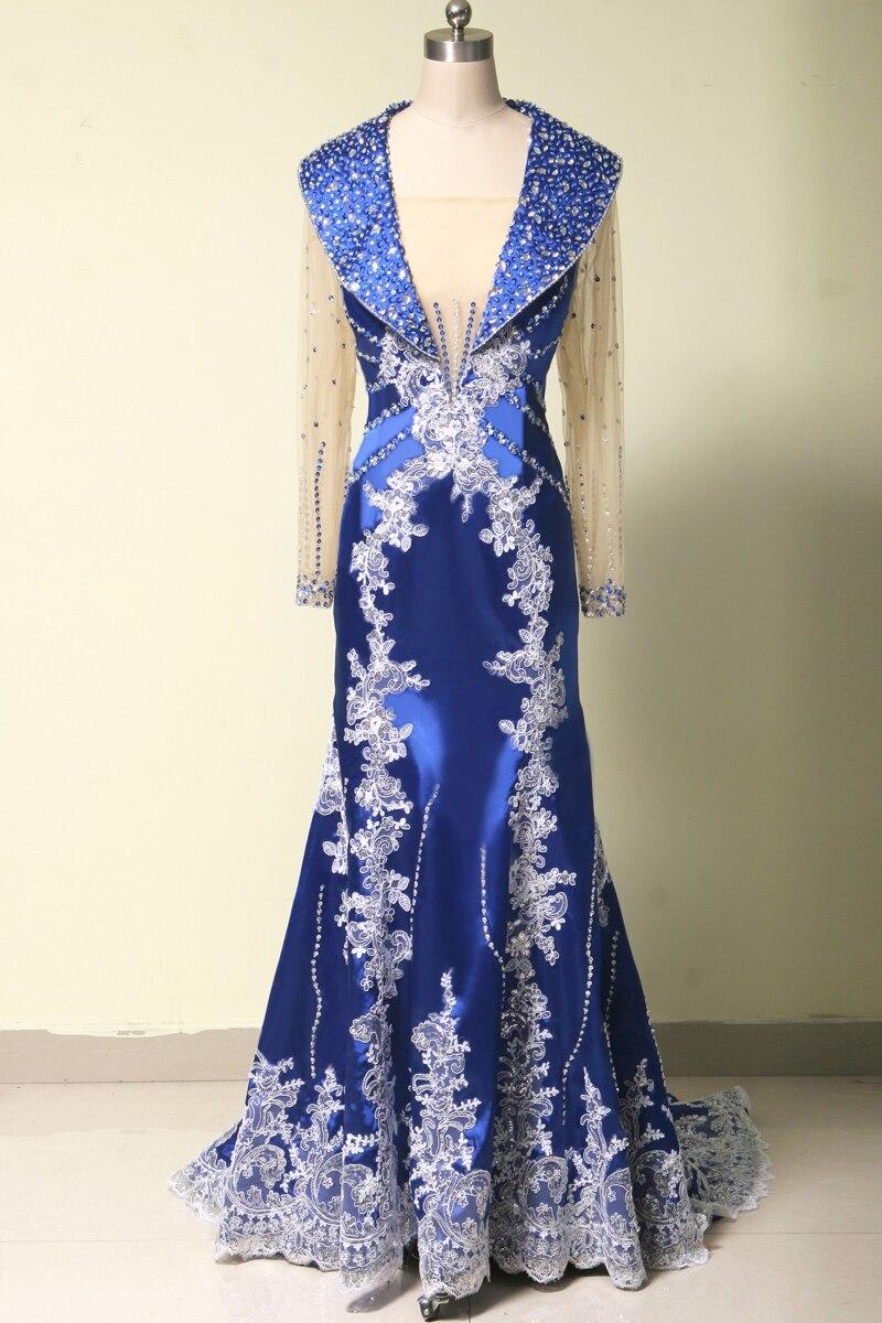 Long Sleeve Royal Blue Evening Gown 2018 Vestido De Noiva Lace Dubai Kaftan Arabic Robe De Soiree Mother Of The Bride Dresses