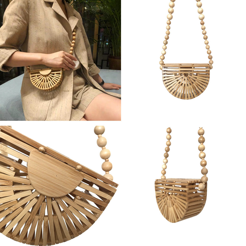 Bamboo Beach Bags For Women 2020 Half Moon Handbag Wooden Messenger Bags Fashion Ladies Shoulder Bag
