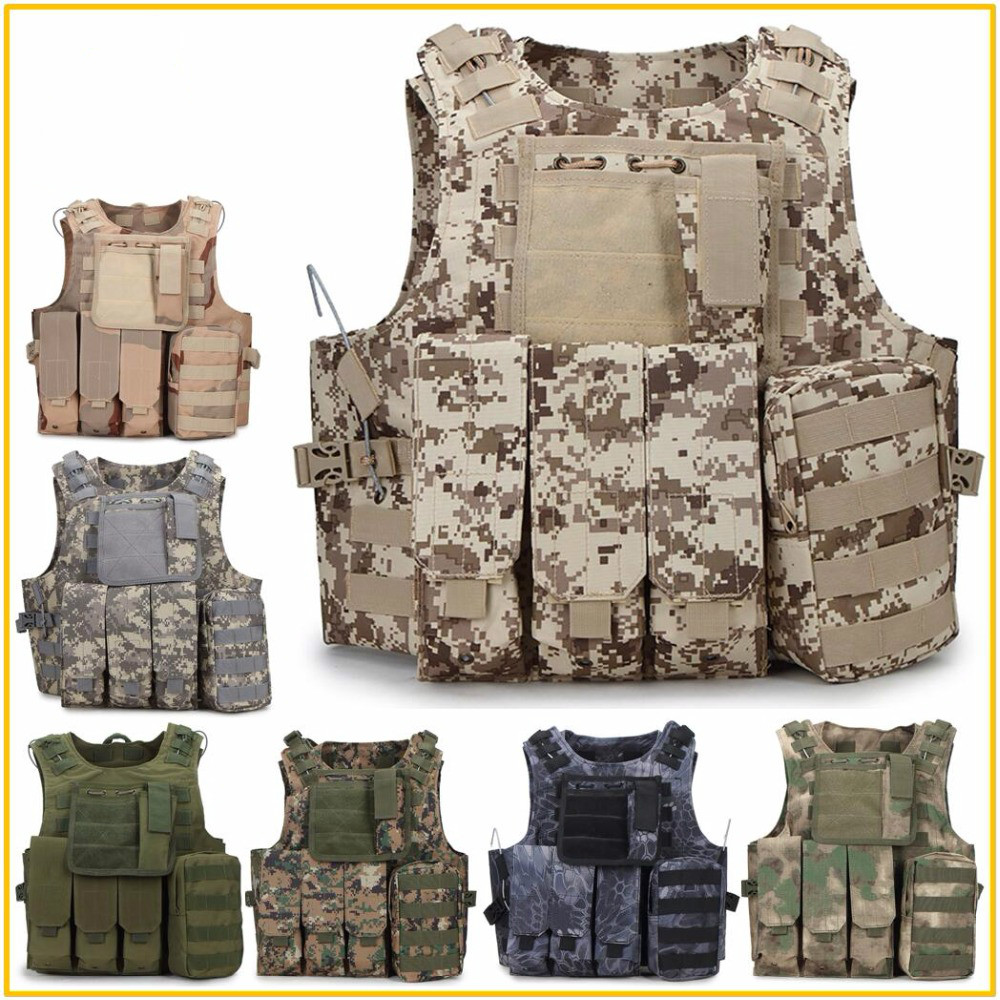 Camouflage Hunting Military Tactical Vest Wargame Body Molle Armor Hunting Vest CS SWAT Team Game Outdoor Jungle Equipment
