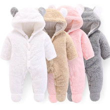 Infant Baby Romper Winter Girls And Boys Plus Thick Coral Fleece Warm Jumpsuit Unisex Baby Clothes For a 3 To 12 Months