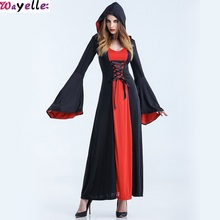 2019 Gothic robes adult Halloween Costume Vampire Dress European American Dance Hooded Witch Role-Playing Clothes Show clothes