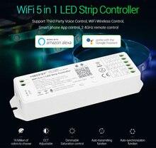 Miboxer wl5 2.4g 5 em 1 wifi led controlador para a única cor cct rgb rgbw rgb + cct led strip suporte amazon alexa controle de voz