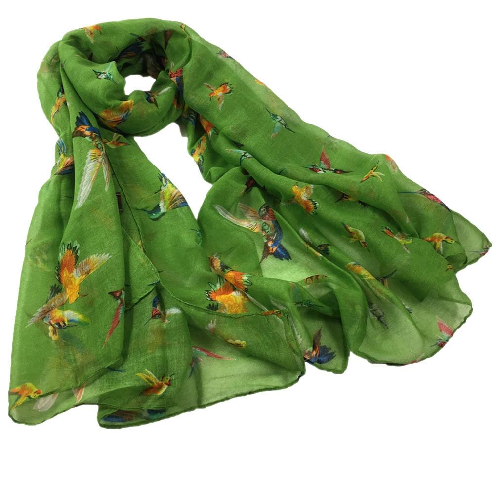 Green  Scarf  Bird Phoenix Print  Wrap  Birds Shawl Swallows New
