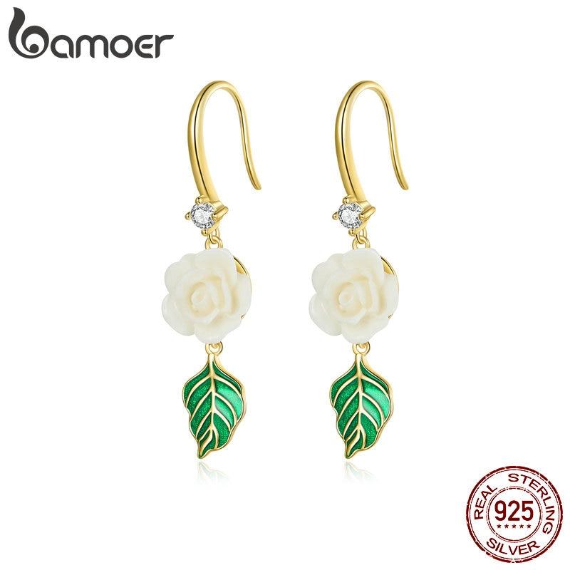 bamoer 925 Sterling Silver Champagne Rose Earrings Earrings for Women Hypoallergenic Silver Jewelry for girl earring BSE453
