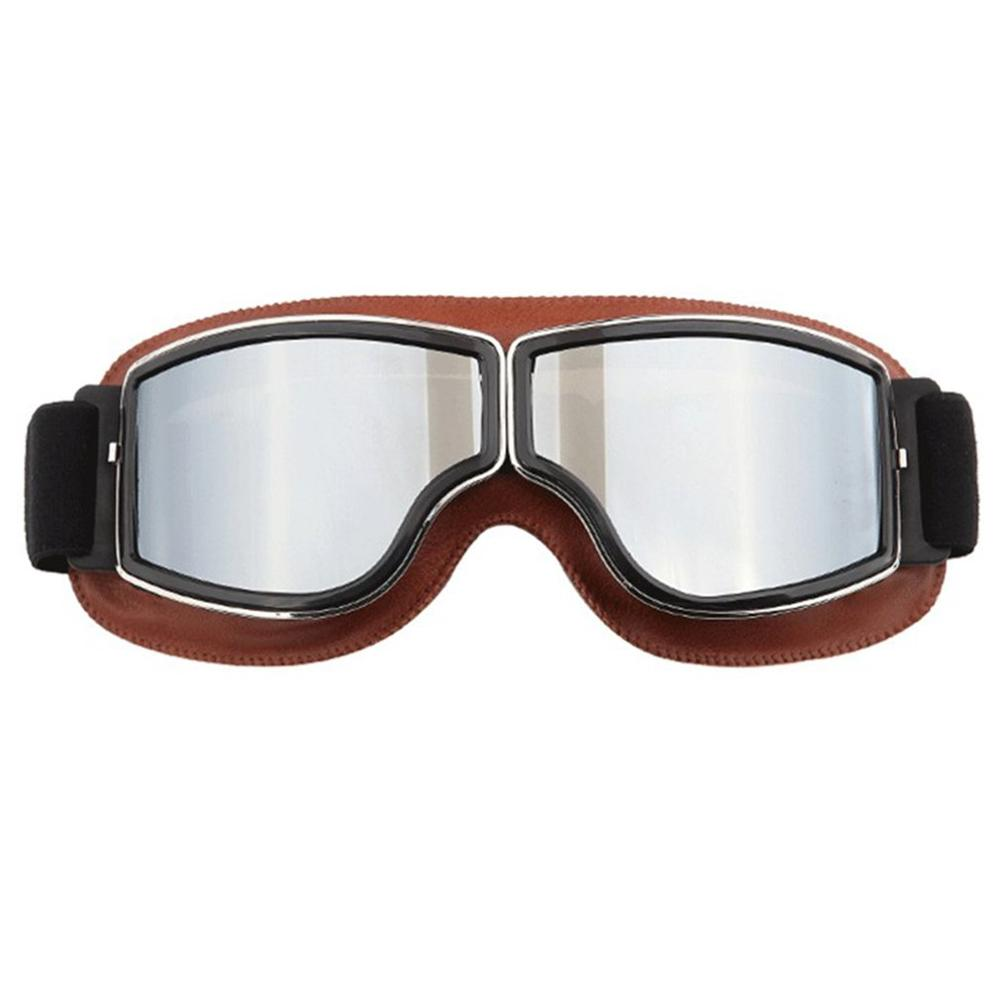 Vintage Winfproof Goggles Motorcycle Leather Glasses Retro Outdoor Off Road Riding Glasses|Hiking Eyewears| |  - title=