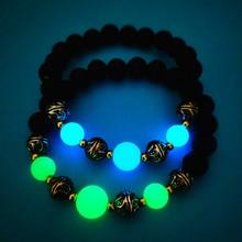 Fashion Elastic String Luminous Beads Bracele Natural Lava Stone Fluorescent Unisex Bangle Glow in the Dark Party Jewelry