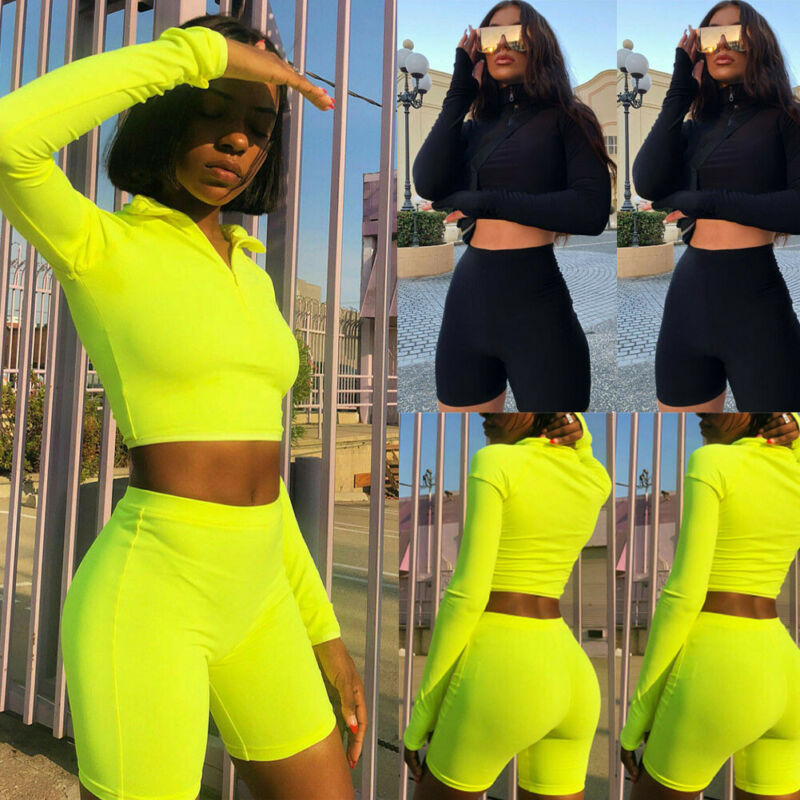 Hot Sell Well 2Pcs Women Tracksuits Long Sleeves Crop Sweatshirt Top Jogging Short Pants Sports Suit Outfit Set Casual New