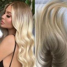 Perruque de cheveux humains pour femmes, postiche, toupet, cheveux naturels, lisses, ombrés, bruns, blonds, avec Clips, 613