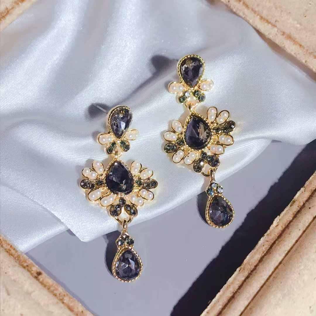 Корт барокко капли шипованные серьги в стиле ретро темная девушка светская темперамент Винтажные серьги богемные ювелирные изделия