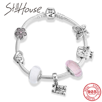 Authentic 925 Sterling Silver Flower clip Beads with Telescope pendant  Bracelet Bangle For Women jewelry Gift