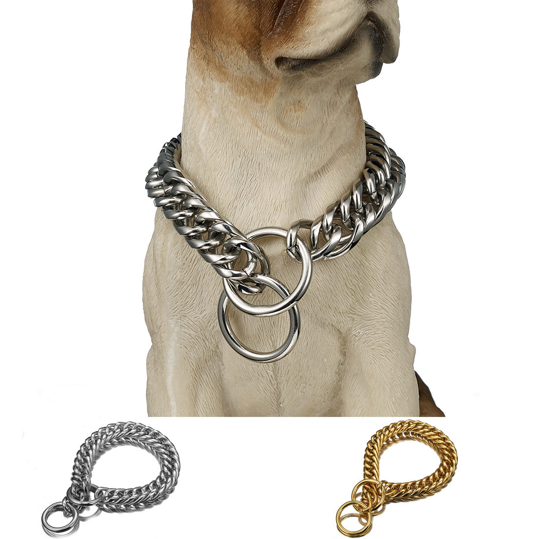 16 Mm/19mm Two-Button Pet Dog Chain P Pendant Stainless Steel Neck Ring Hand Holding Rope One-piece Supply Of Goods