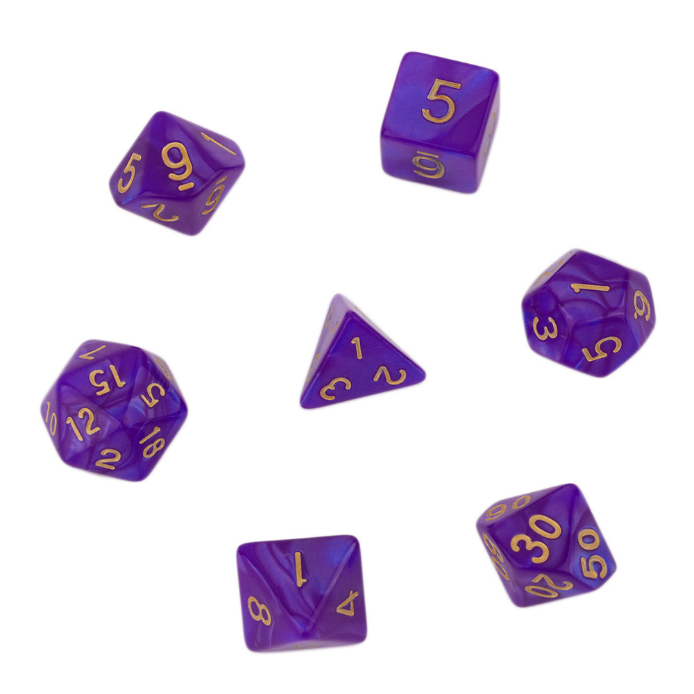 2019 7pcs/Set Polyhedral Dice Lados For TRPG Board Game Dungeons And Dragons Acrylic D4-D20 Bright Color Dados De Doce