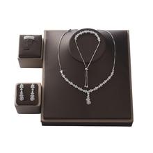 Halsband Schmuck Set HADIYANA Hohe Qualität Zirkon Frauen Hochzeit Halskette Ohrringe Ring Und Armband Set CNY0086 Bisuteria