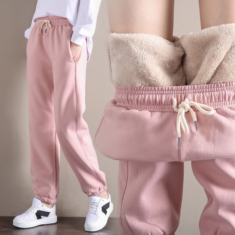2 Styles Lamb Faux Fur Thick Fleece Harem Pants Women Russia -30 Degree Winter S~3XL Plus Size Warm Pants Girls Lace-up Trousers