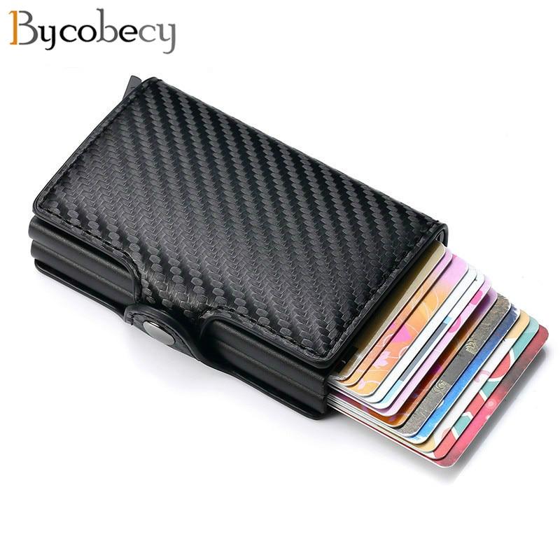 Bycobecy New Carbon Fiber Anti Rfid Credit Card Holder Men Cardholder Metal Aluminum Double Box Bank ID Holder Minimalist Wallet