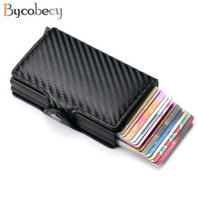 Bycobecy New Carbon Fiber Anti Rfid Credit Card Holder Men Cardholder Metal Aluminum Double Box Bank ID Holder Minimalist Wallet(China)