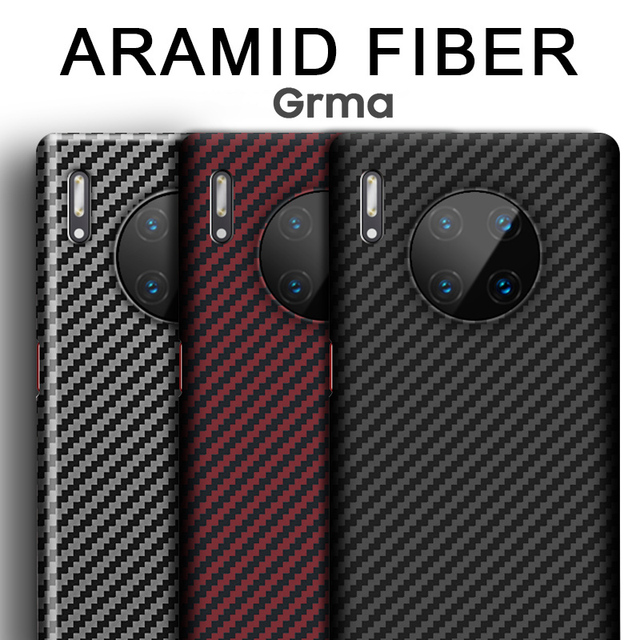Grma Real Pure Carbon Fiber Phone Back Cover For HUAWEI P40 P30 Mate 30 Pro Case Ultra Thin Anti Fall Shockproof Phone Cover