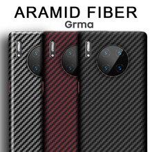 Grma gerçek saf karbon Fiber telefon arka kapak için HUAWEI P40 P30 Mate 30 Pro durumda Ultra ince Anti güz darbeye dayanıklı telefon kapağı