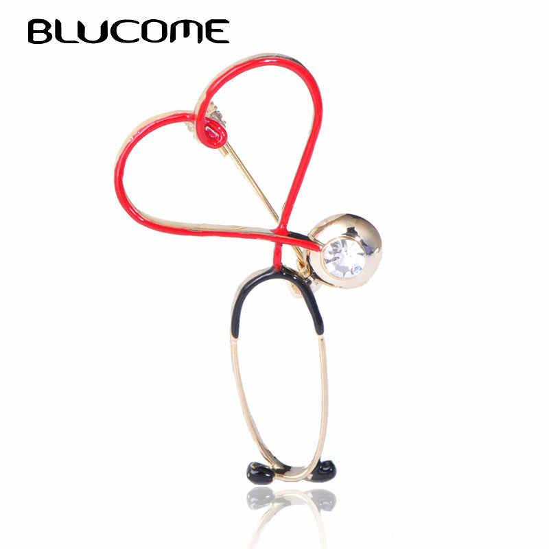 Blucome Rame Del Cuore di Amore Stetoscopio Spille Per Le Donne Degli Uomini Medico Infermiere Medico Spilla Clip Collare Distintivo Spilli Regalo Di Natale