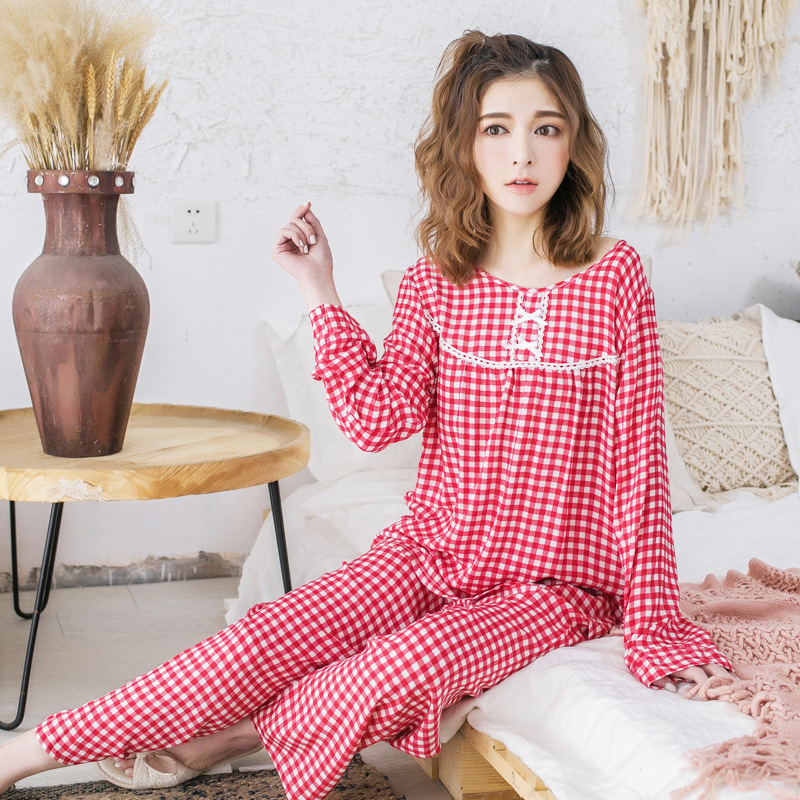 Spring And Summer Pajamas WOMEN'S Long Sleeve Trousers Cotton Silk Tracksuit Plaid Artificial Cotton Fashion GIRL'S Students Paj
