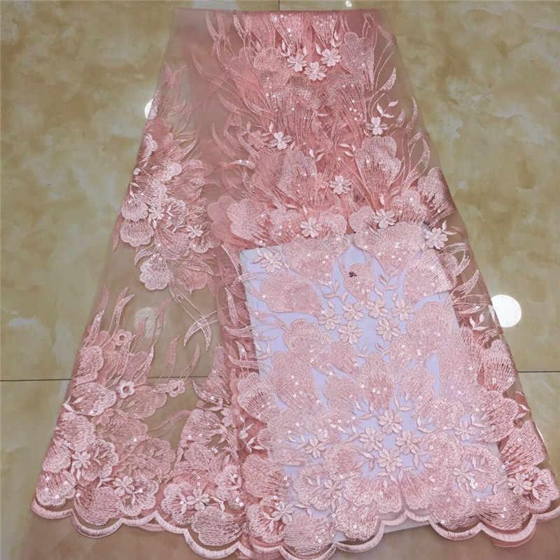2020 rosa mais recente tecido de renda africano alta qualidade francês net bordado azul lantejoulas tule tecido renda para vestido festa nigeriana