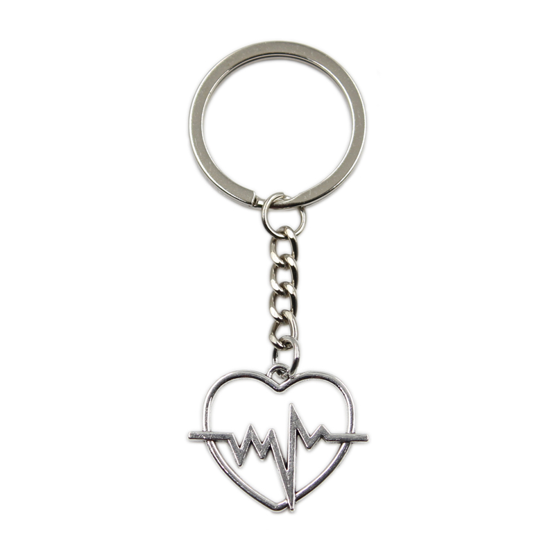 Factory Price Heart Heartbeat ECG Pendant Key Ring Metal Chain Silver Color Men Car Gift Souvenirs Keychain Dropshipping