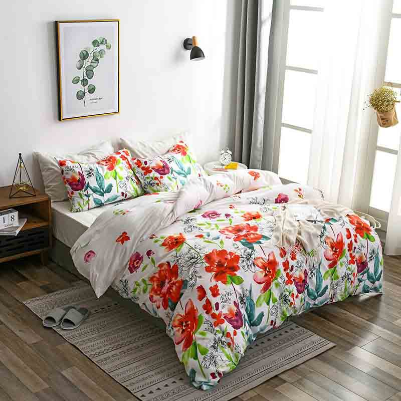 Colorful Floral Pattern Bedding Quilt Cover, Pillowcase, Floral Print Bedding Set Of 3, Rustic Style Flowers, Home Textiles