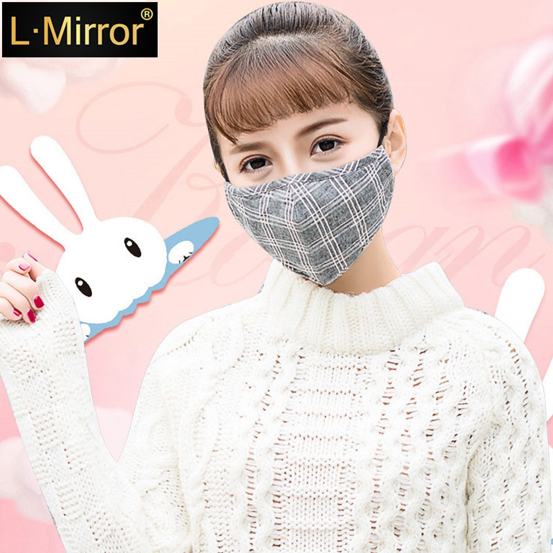 L.Mirror 1Pcs Fashion Lattice Mask Dust  Anti Pollution  PM2.5 Activated Carbon Filter Insert Reusable Pollen Cotton Mouth Mask