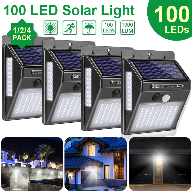 Goodland 100 LED Solar Light Outdoor Solar Lamp PIR Motion Sensor Sunlight Powered Waterproof Street Lamp For Garden Decoration