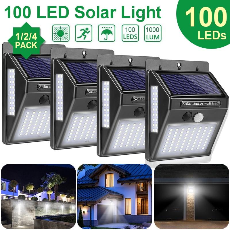 Goodland 100 LED lumière solaire extérieure lampe solaire PIR capteur de mouvement lumière du soleil alimenté étanche lampadaire pour la décoration de jardin
