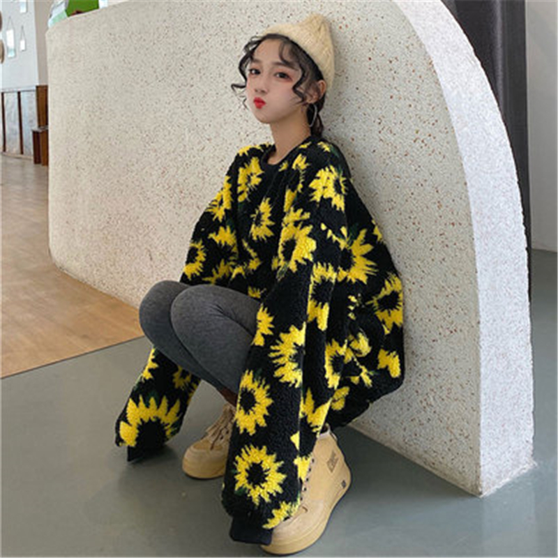 Spring Autumn Women's Hooded Print Sunflower Lamb Wool Sweatershirt Loose Oversize Female Pullover Fashion Long Tops T800