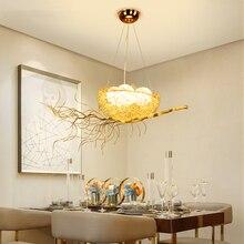 Современная Птичье люстра в виде гнезда освещение столовая Золотое Птичье гнездо со светодиодной лампой Lustre de cristal подвесные светильники для яиц