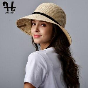 Image 4 - FURTALK kapelusz na lato dla kobiet słomkowy kapelusz kapelusz przeciwsłoneczny na plażę kobiece szerokie rondo UPF 50 + ochrona przed słońcem kapelusze wiadro czapka z wiatrem smycz