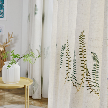 Korean Style Curtains for Living Dining Room Bedroom Pastoral Embroidery Fabric Curtains Tulle Finished Product Customization 1969 feverish finished product 064