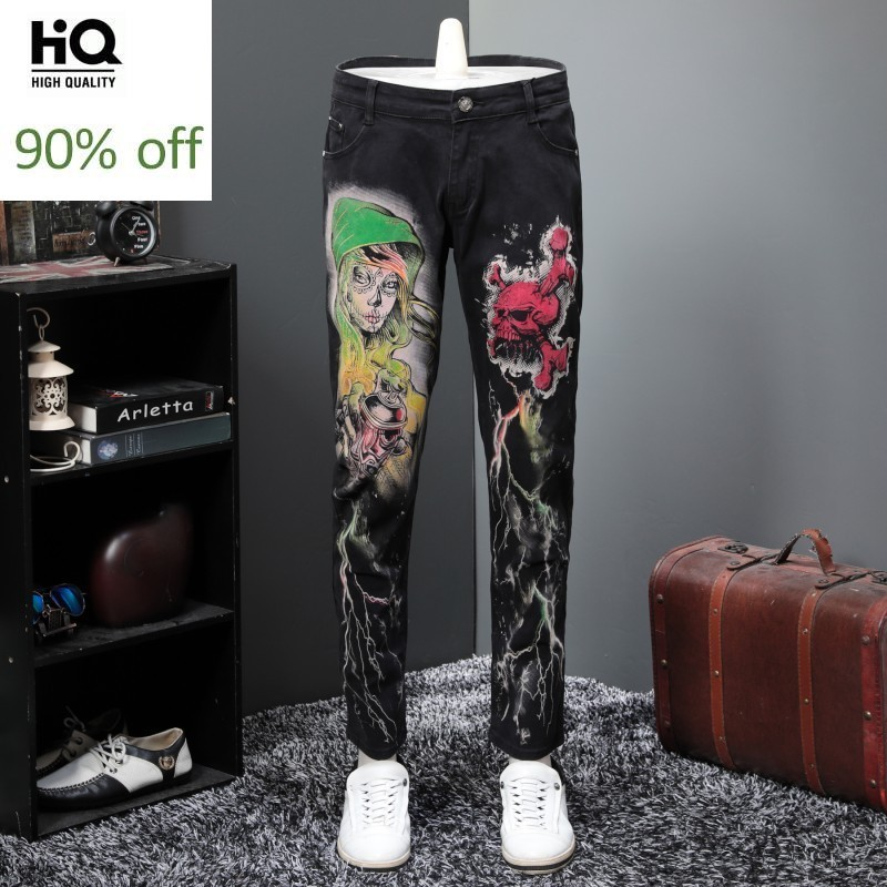 Personality Pringting Punk Style Mens Black Full Length Jeans Pants Slim Fit Casual Pencil Trousers Plus Size Night Club Wear