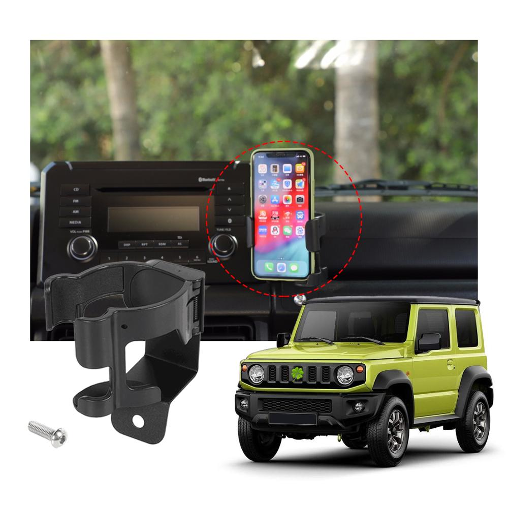 Interior Water Cup Bracket Phone Holder Carrier For Suzuki JIMNY 2019 2020 Car Styling GPS Cellphone Black Stander Accessories