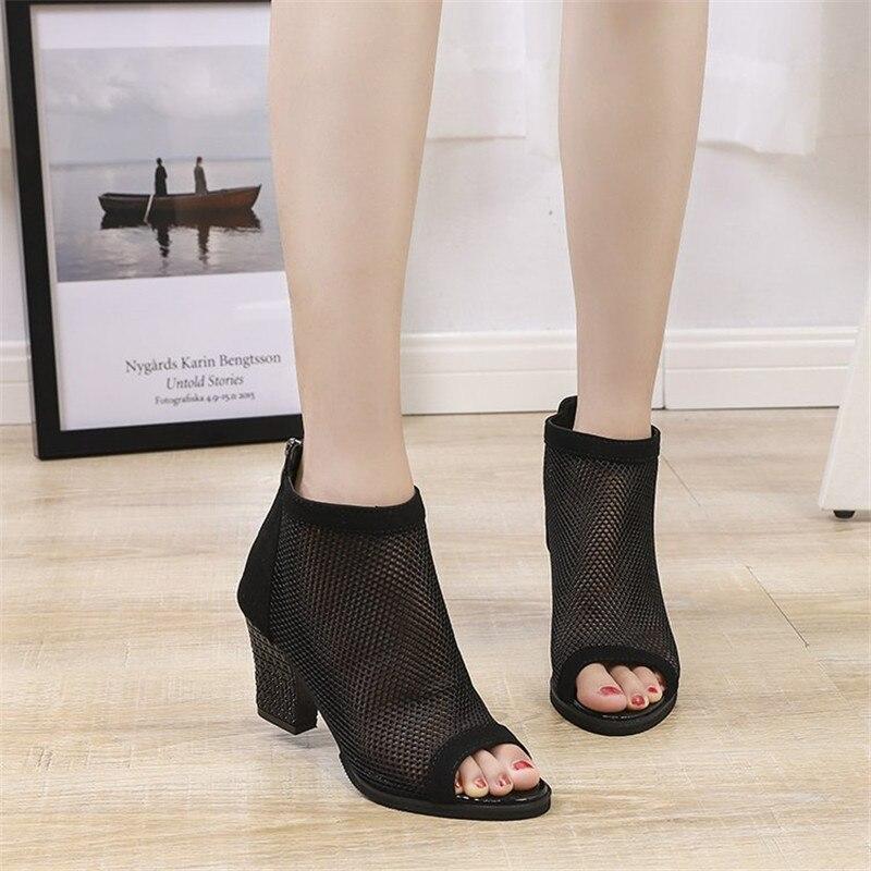 Breathable Mesh Women Shoes Summer Shoes Fashion Sandals Square Heel High Heels Chunky Peep Toe Zip