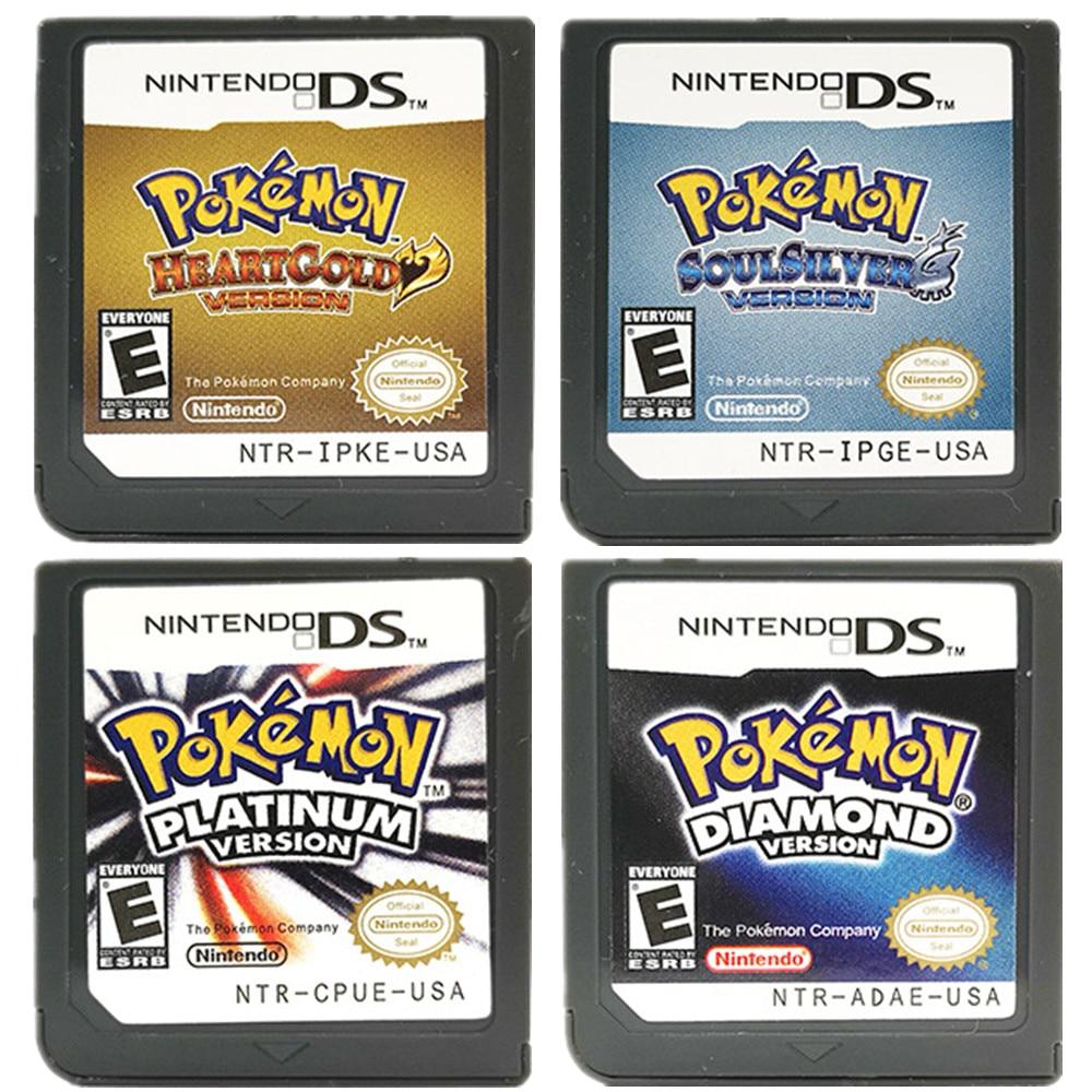 Série pokemon diamante heartgold pérola platina soulsilver ds nintendo jogo cartucho console cartão inglês para ds 3ds 2ds nds